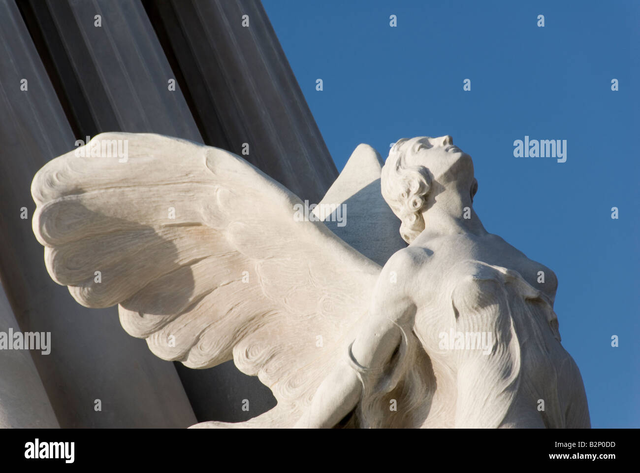 Detail of a female angel on an Art Deco statue of the colonial Monumento a Maximo Gomez in La Habana Vieja Havana - Stock Image