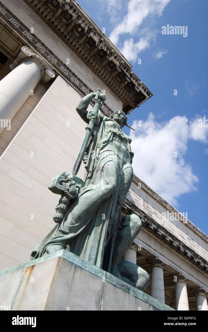 Statue in front of the Capitolio in La Habana Vieja Havana Cuba - Stock Image