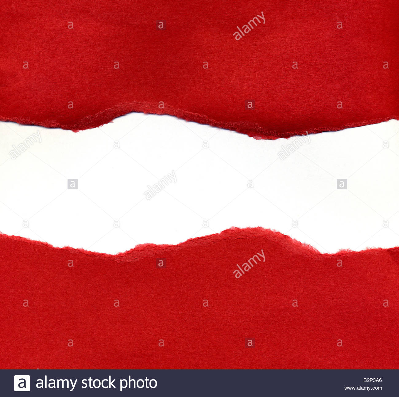 Red Torn Paper Revealing a White Background Texture perfect for advertising your sale time bargains - Stock Image