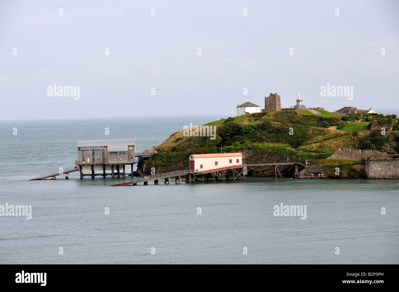 Old and new Lifeboat stations Tenby Pembrokeshire Wales Cymru Stock Photo