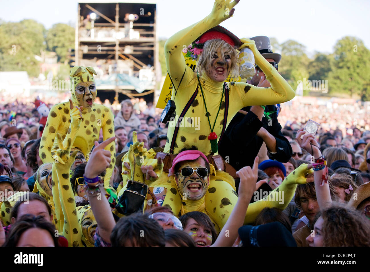 A section of the crowd watching The Mighty Boosh perform live at The Big Chill Festival 2008 at Eastnor Castle, - Stock Image