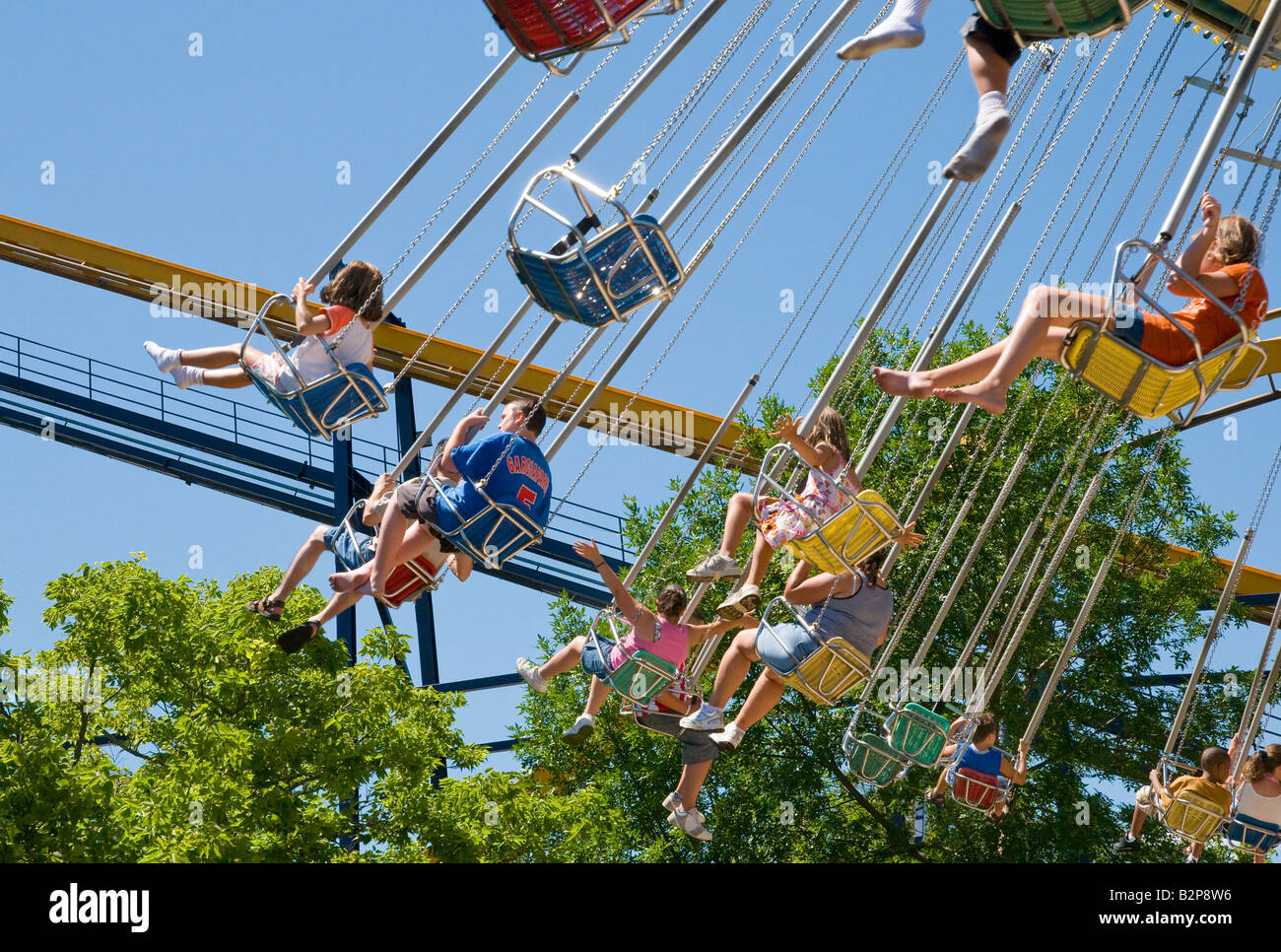 Whirligig ride at Six Flags Great America - Stock Image