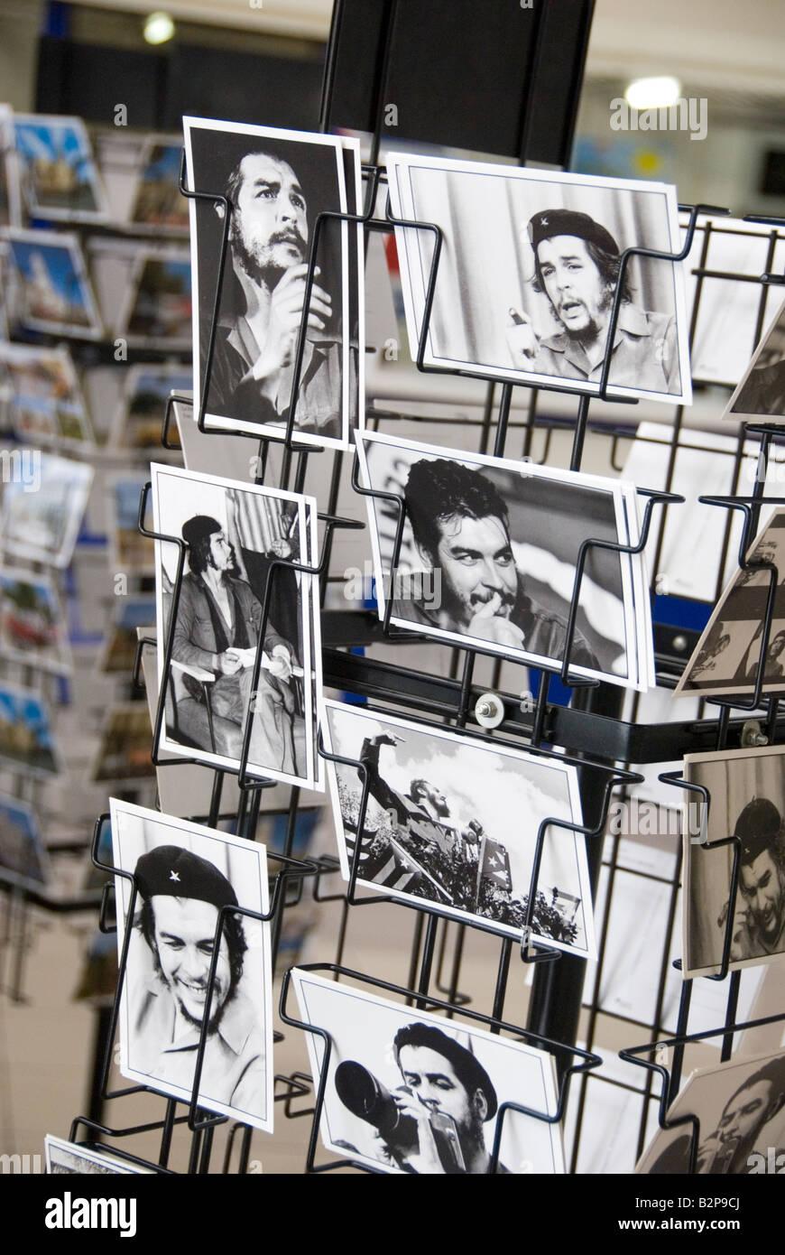 Tourist postcards for sale of the Marxist revolutionary hero Ernesto Che Guevara Havana Cuba - Stock Image