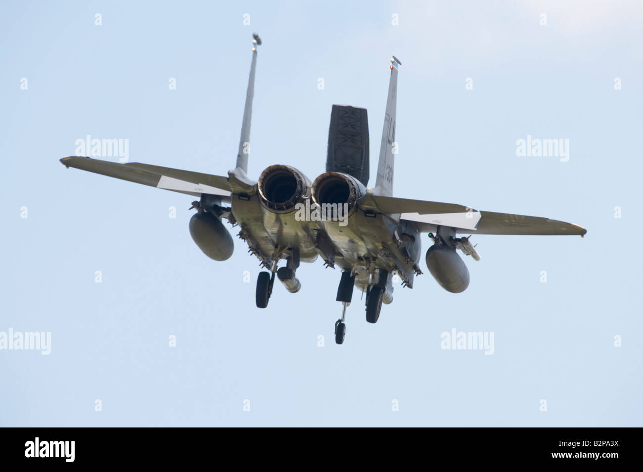 A USAF McDonnall Douglas F 15E Strike Eagle on final approach - Stock Image