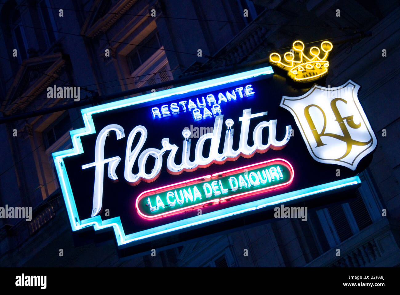 Neon sign for El Floridita bar La Habana Vieja Cuba - Stock Image