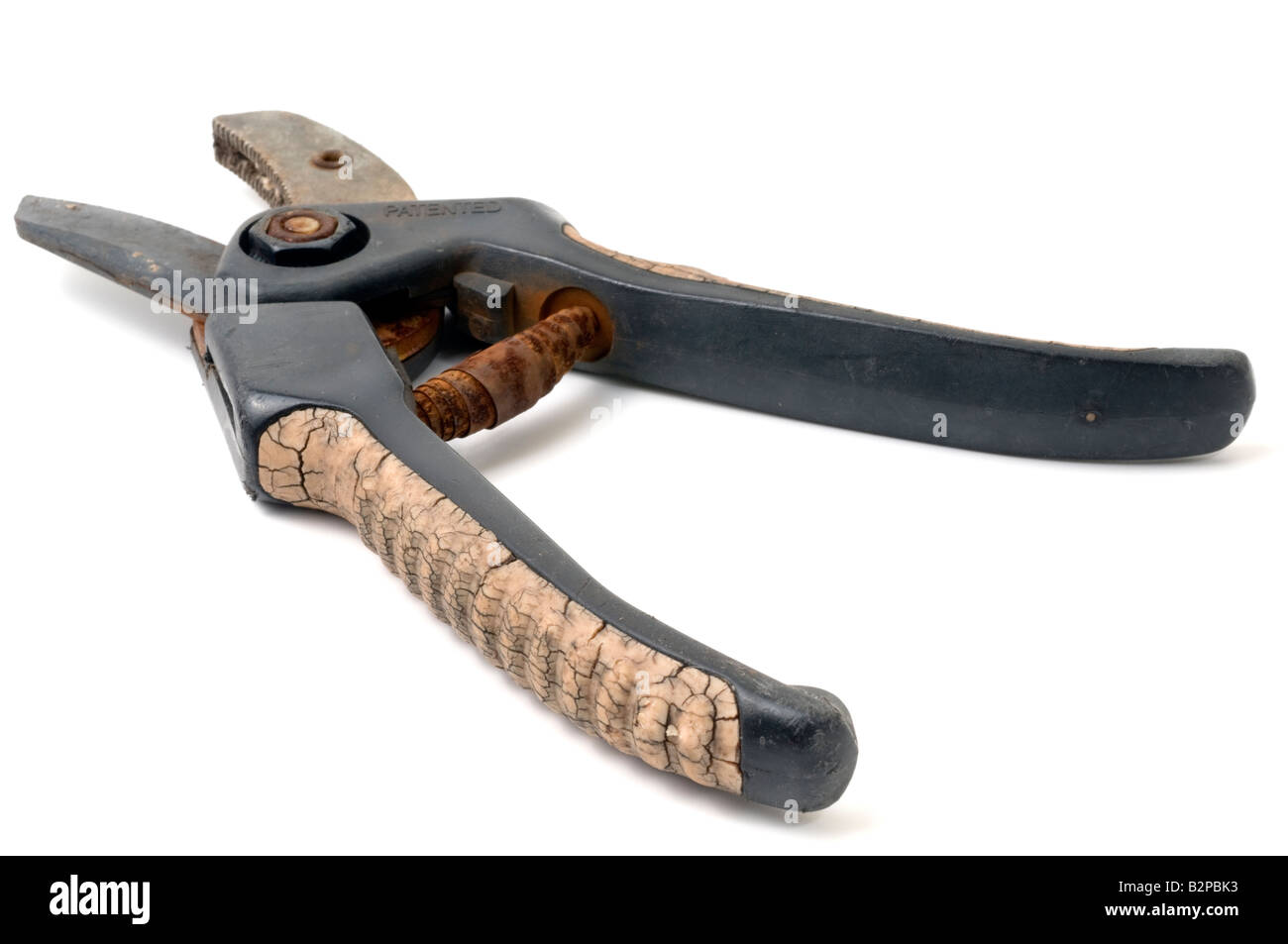 Old worn out garden secateurs - Stock Image