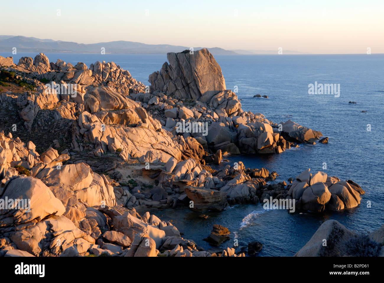 Evening light on the Capo Testa headland of northern Sardinia - Stock Image