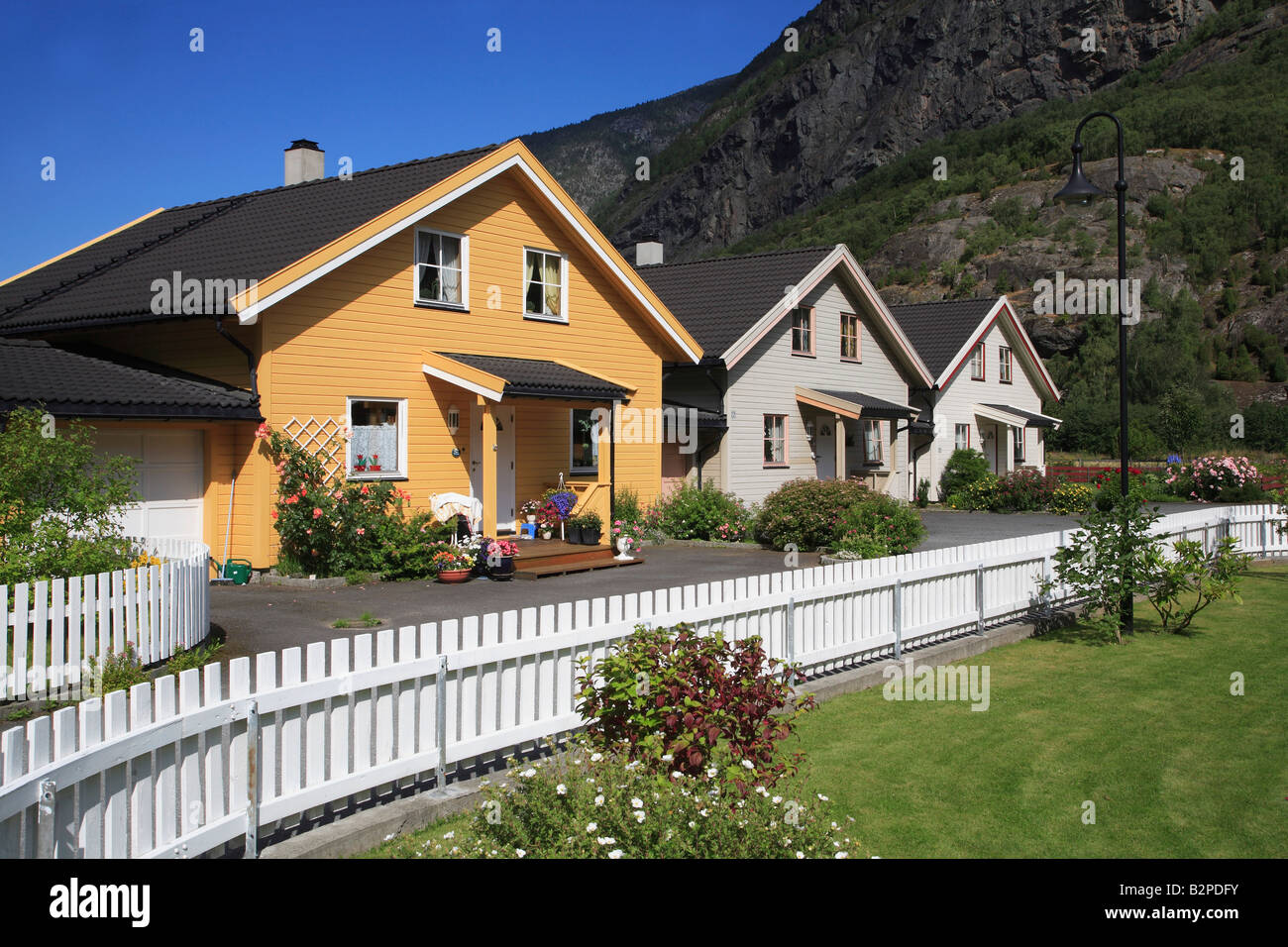 Norway Laerdal typical country houses - Stock Image