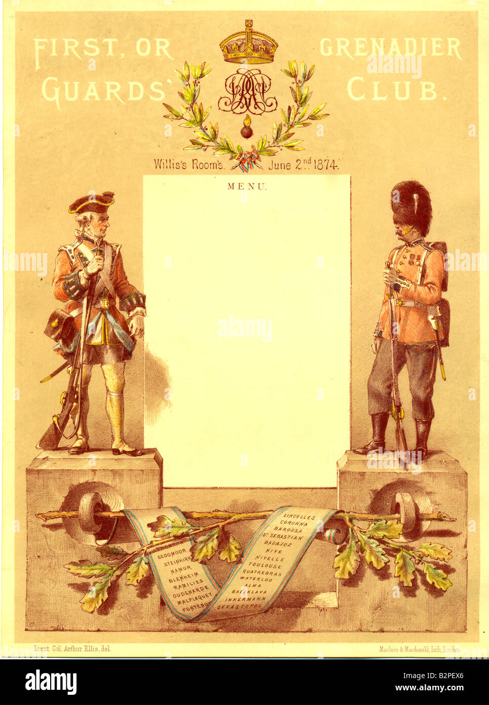 Lithographed menu for Grenadier Guards' Club 1874 - Stock Image