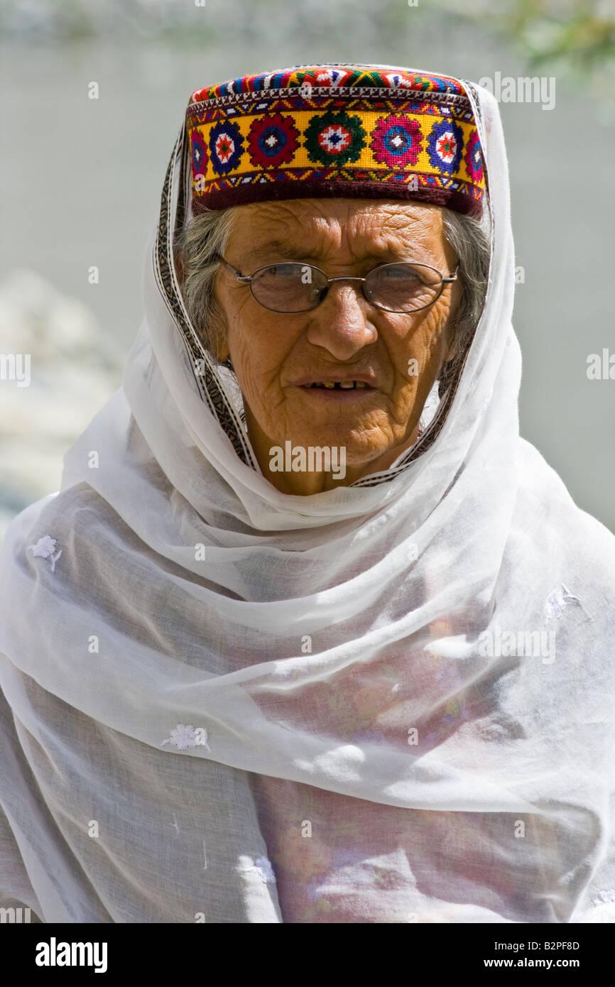 Ismaili Wakhi Woman in Passu Northern Areas Pakistan - Stock Image