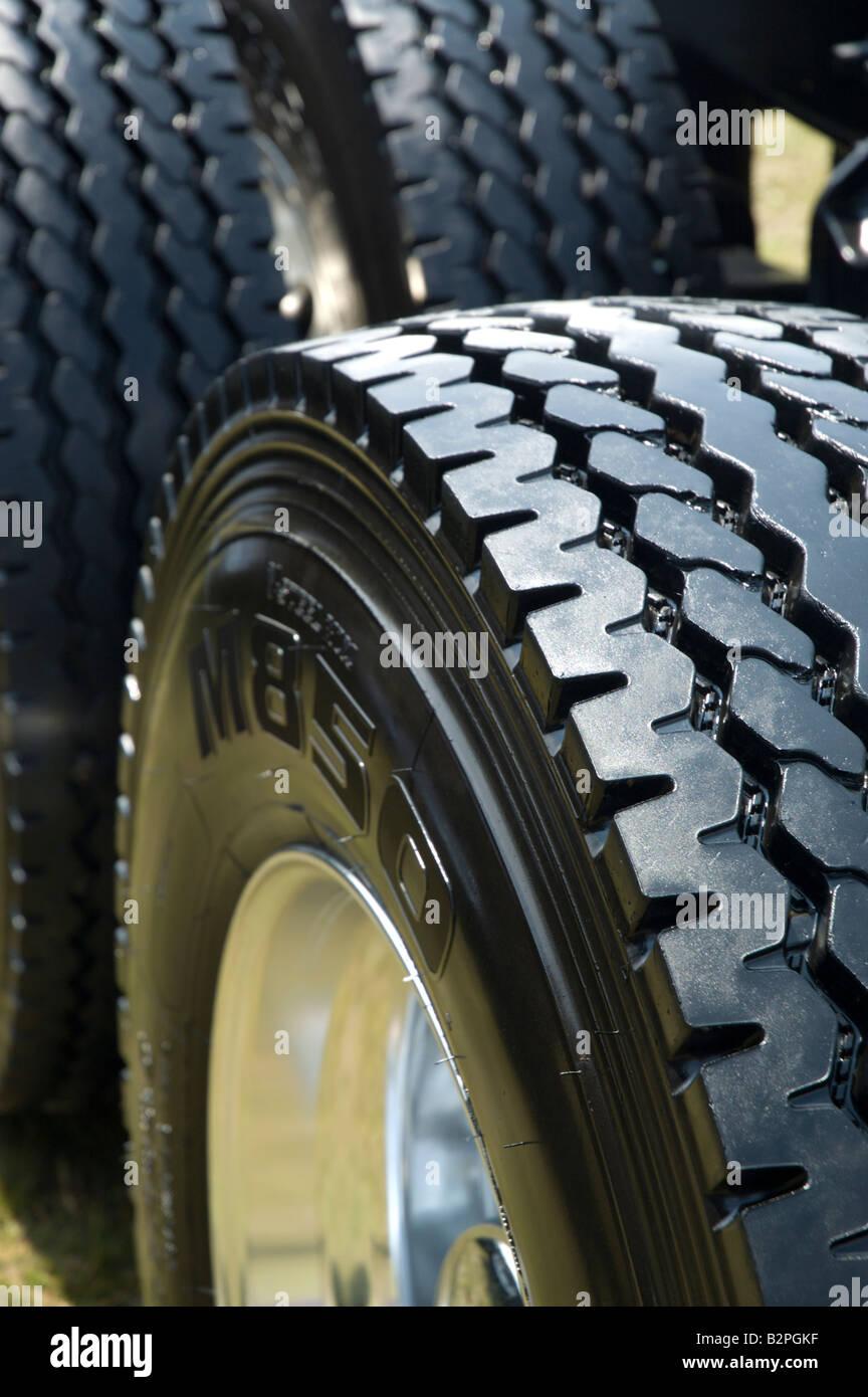 Set of rear wheels on semi tractor trailer - Stock Image