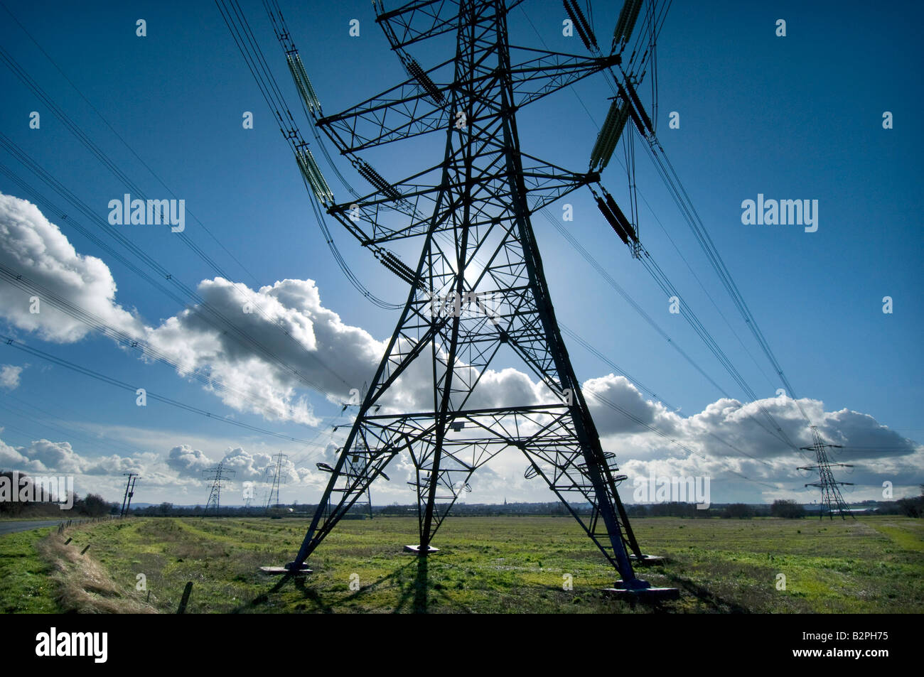 An electricity pylon or tower in the English countryside - Stock Image