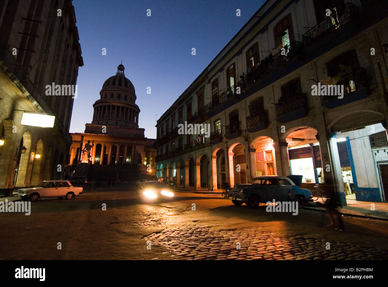 Dark rundown street in La Habana Vieja Havana Cuba - Stock Image