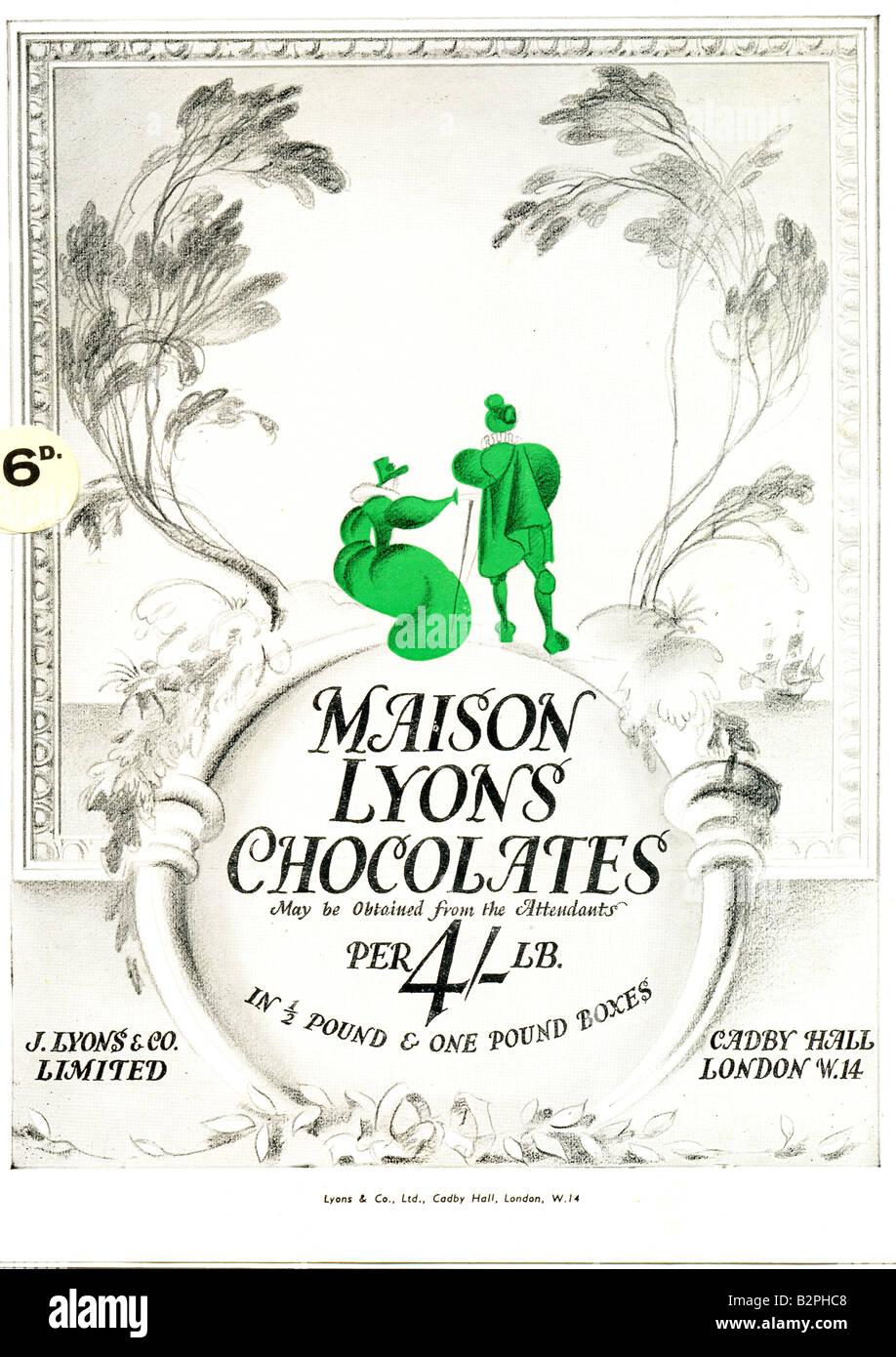 Advertisement for Maison Lyons Chocolates in 1936 London theatre programme - Stock Image