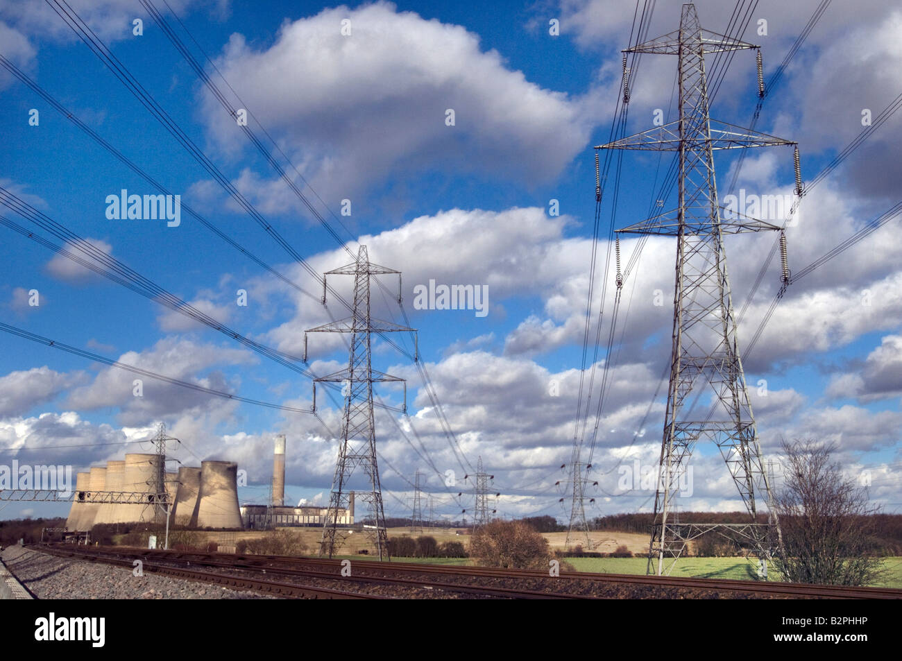 Electricity pylons and power lines at Ratcliffe on Soar coal fired power station UK - Stock Image