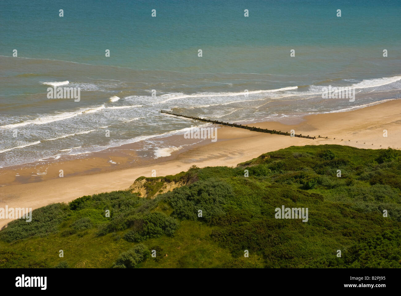 Cliff top view of beach and sea at Cromer Stock Photo