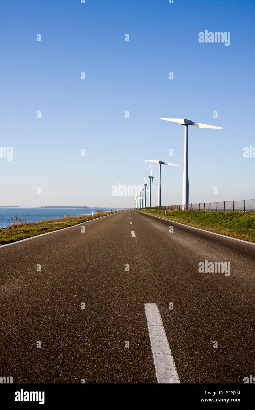 Two Bladed Windmill Farm in the Netherlands - Stock Image