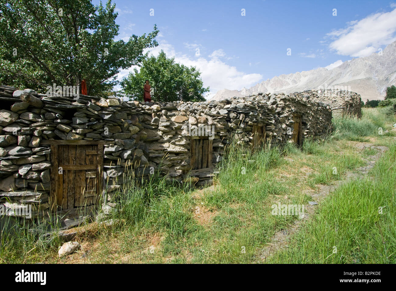 Stone Buildings in Passu Northern Pakistan - Stock Image