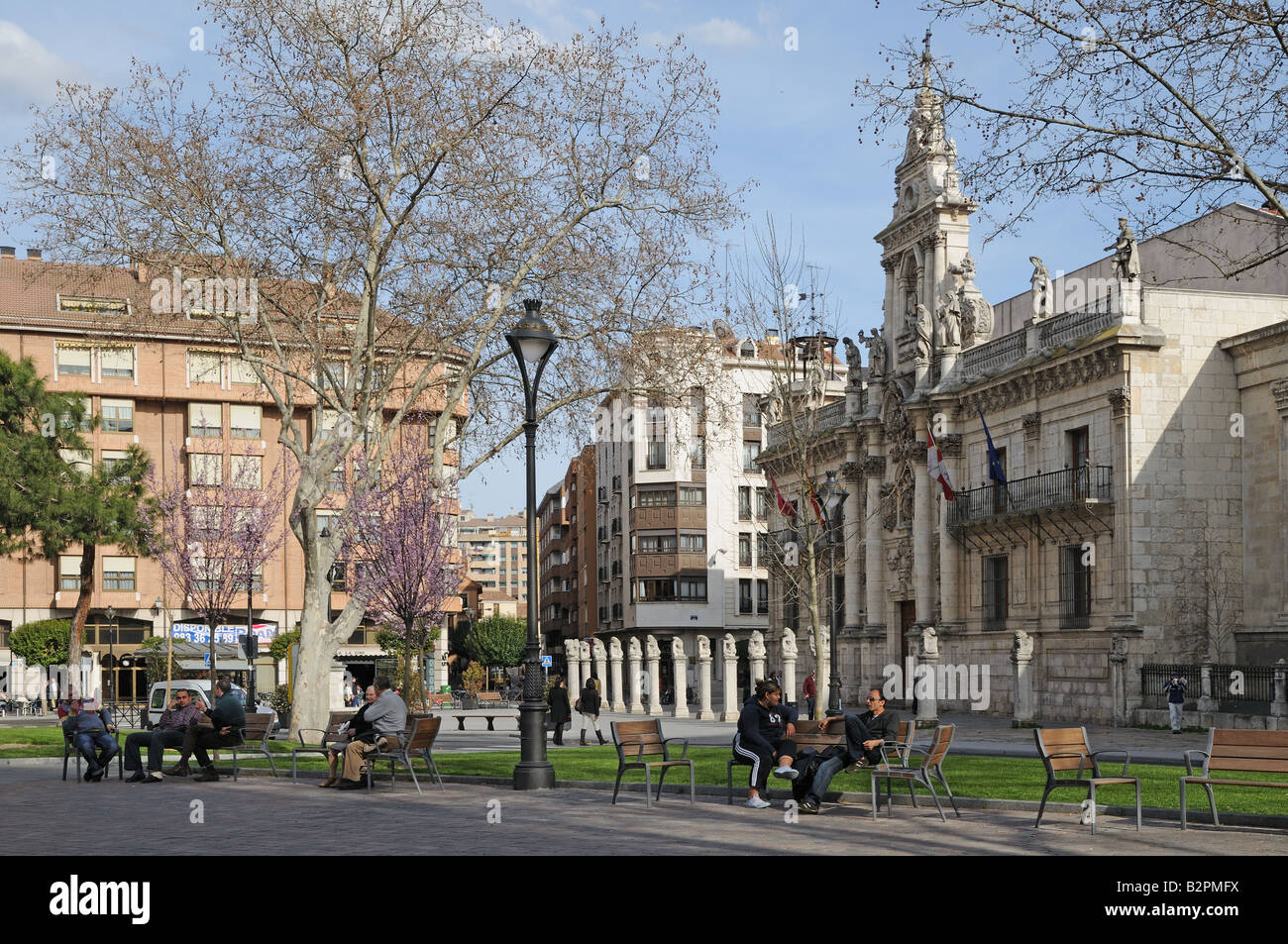 Square piazza in front of the baroque Universidad University Valladolid Spain - Stock Image