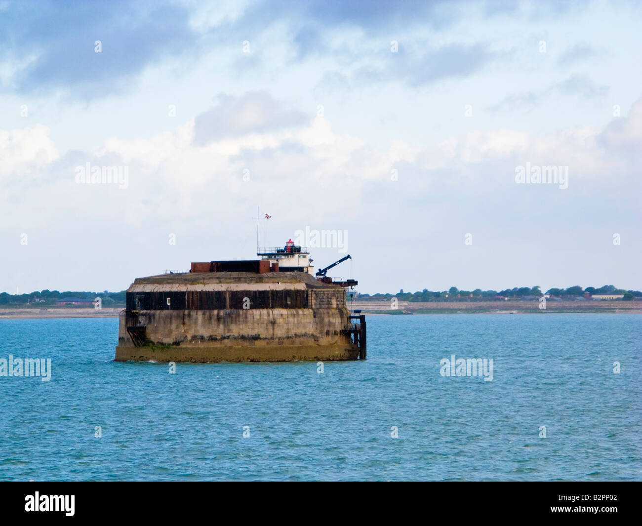 Spitbank sea fort in The Solent at the entrance to Portsmouth Harbour England UK - Stock Image