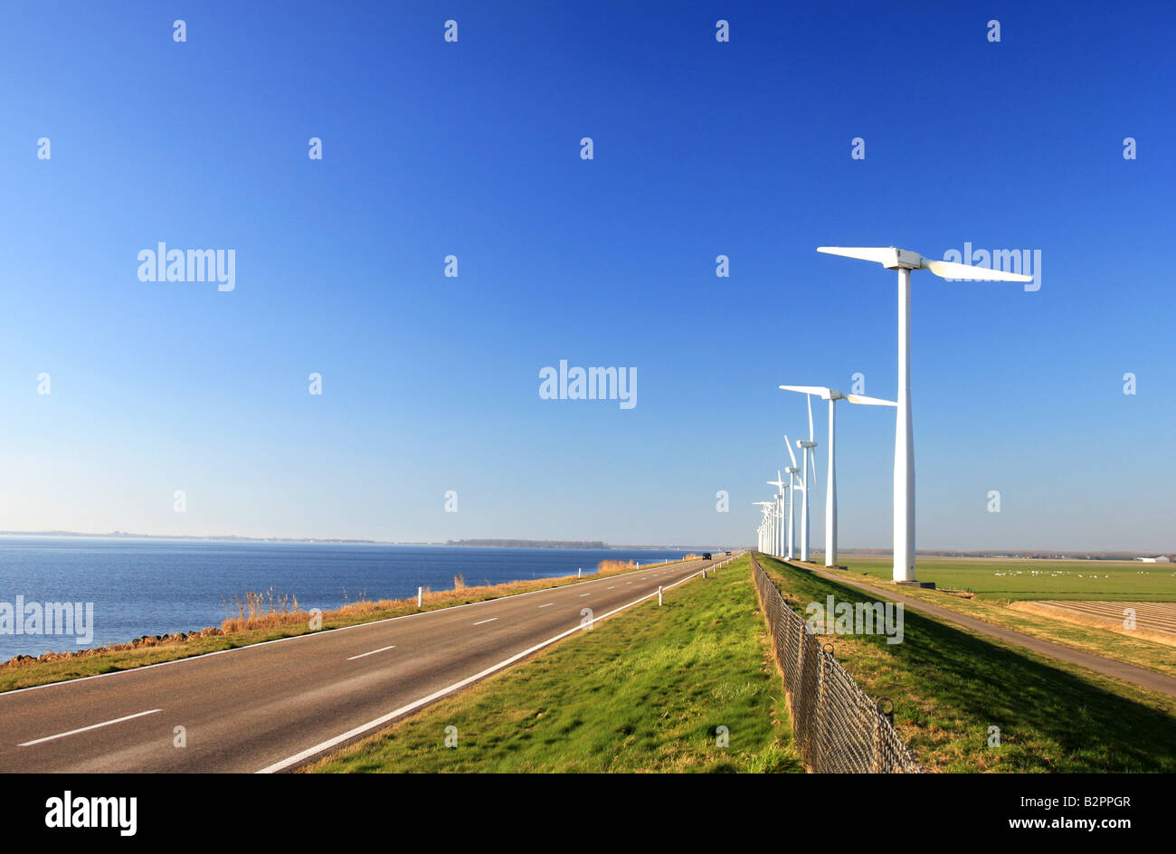 Two Bladed Windmill Farm in the Netherlands with Road - Stock Image