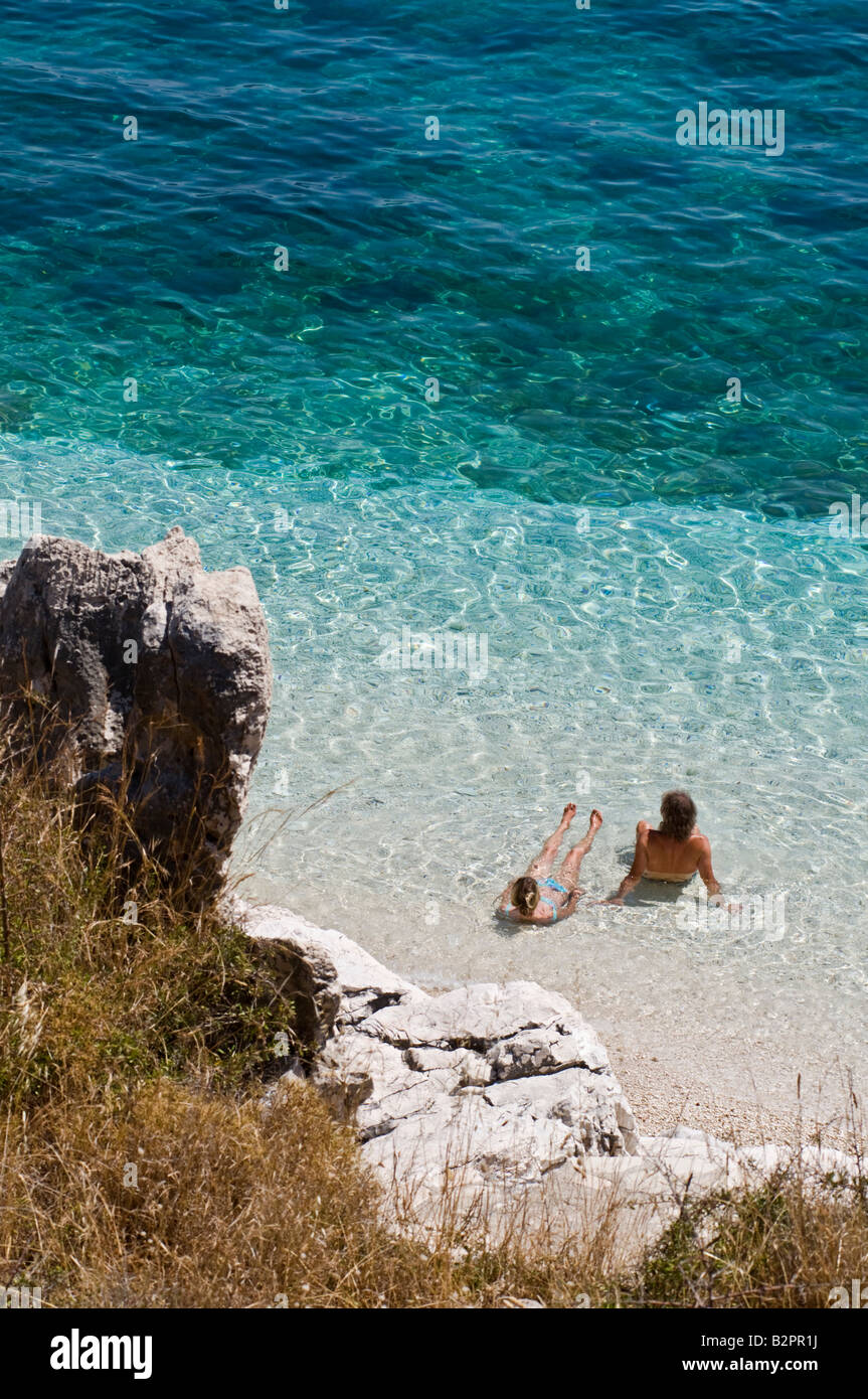 One of the many coves that are scattered along Kefalonias east and north east cost near Agia Efimia Kefalonia Greece - Stock Image