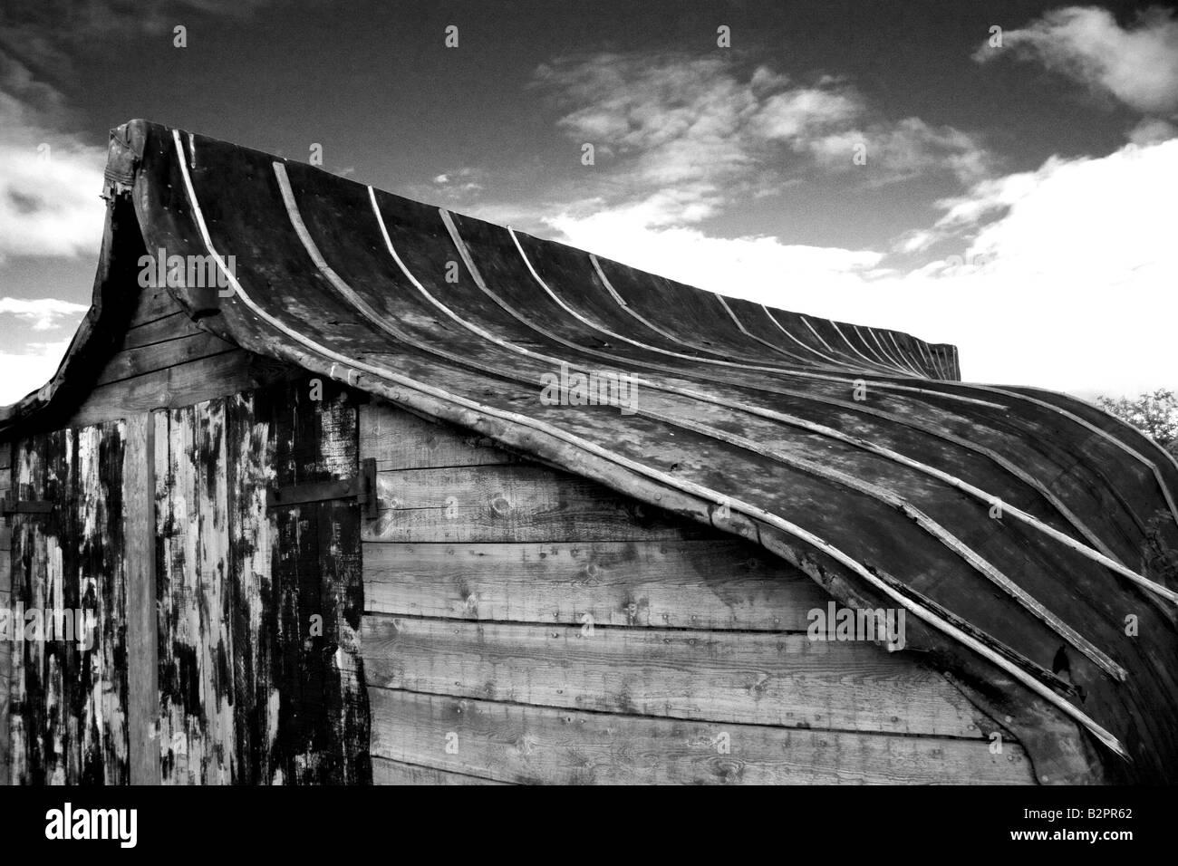 Old boat shed Lindisfarne - Stock Image