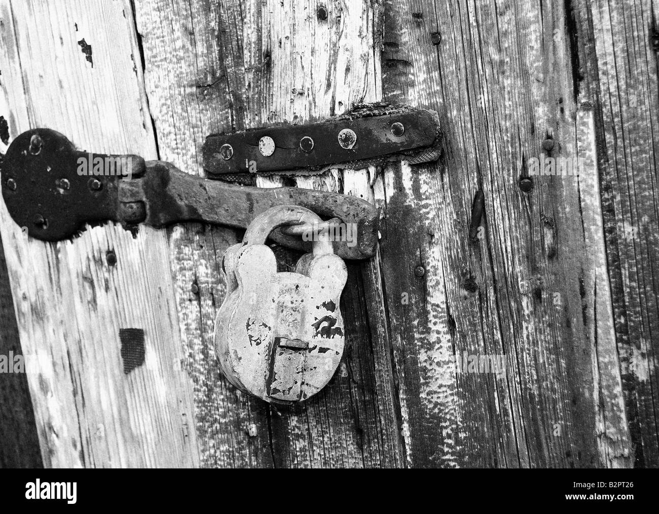 Old Boat Shed padlock - Stock Image
