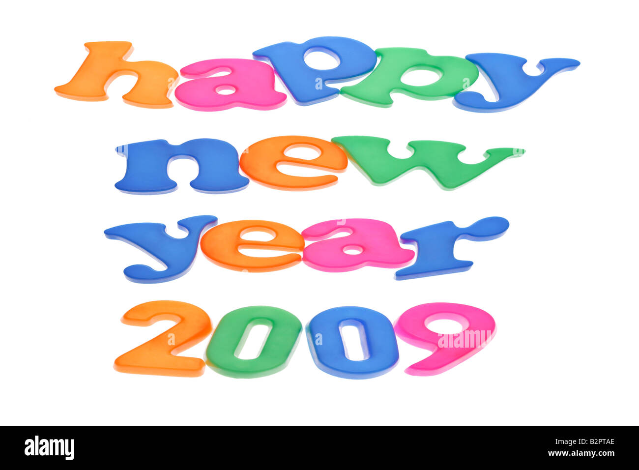 Happy New Year 2009 letter blocks on white background - Stock Image