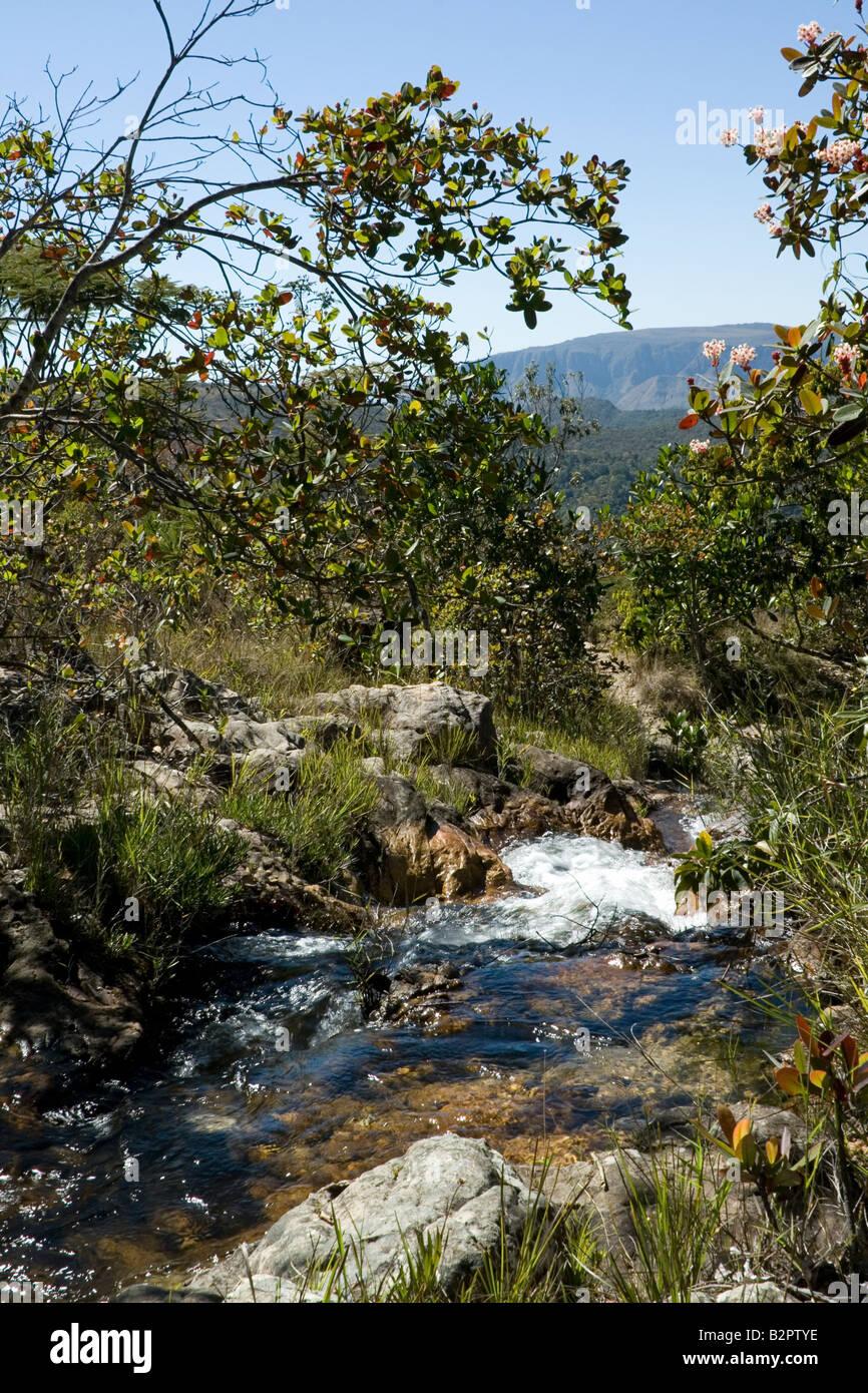 Rio Cristal View, Alto Paraiso, Chapada dos Veadeiros, Tableland, Goias, Brazil - Stock Image