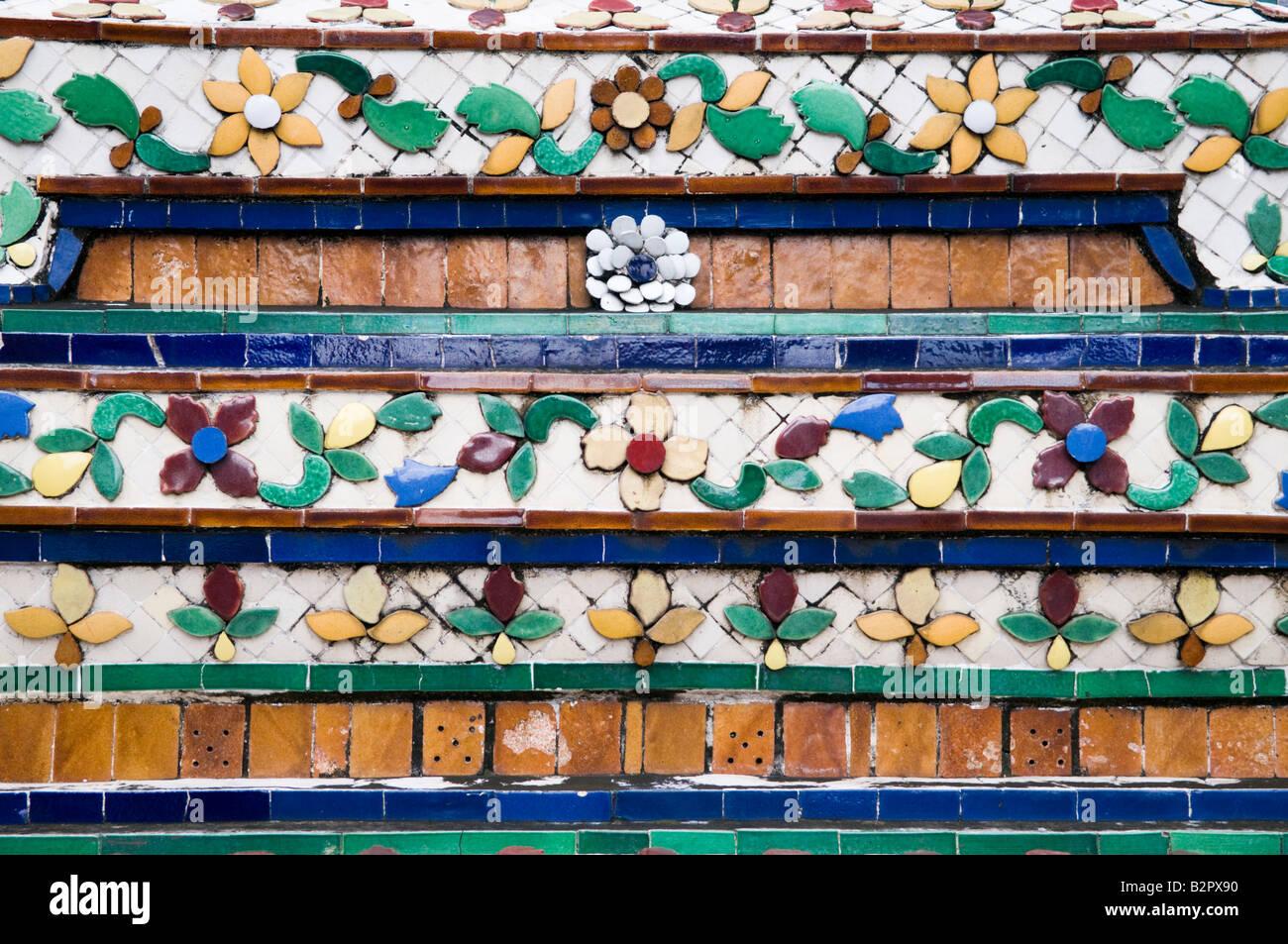 Decorative  tiles at Wat Pho in Bangkok - Stock Image