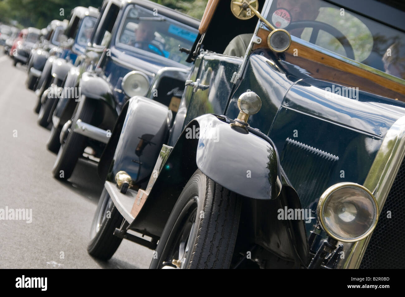 Cavalcade of classic cars, about to set off from Belfast to Portrush - Stock Image