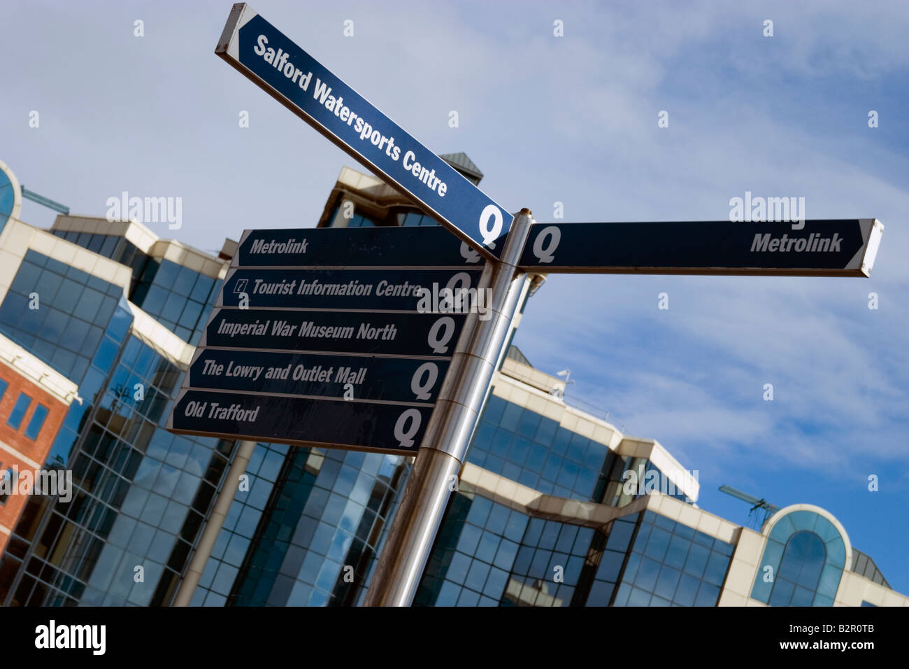 Tourist Information Sign, Salford Quays, Manchester. - Stock Image