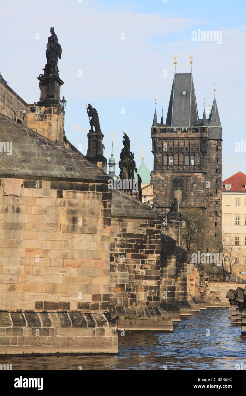 Beneath the Charles Bridge viewing across the Old Town Tower built by Peter parler, Prague, Czech Republic - Stock Image