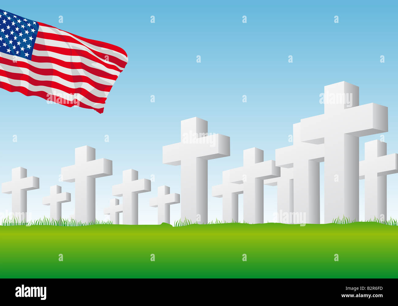 Abstract vector illustration of an american flag over a graveyard Stock Photo
