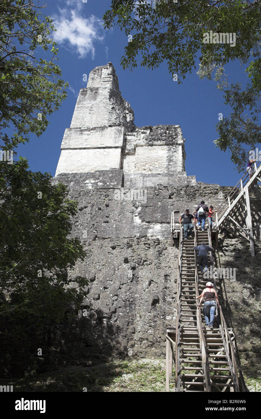 The ruins and temples at Tikal National Park, close to Flores in Guatamala. - Stock Image