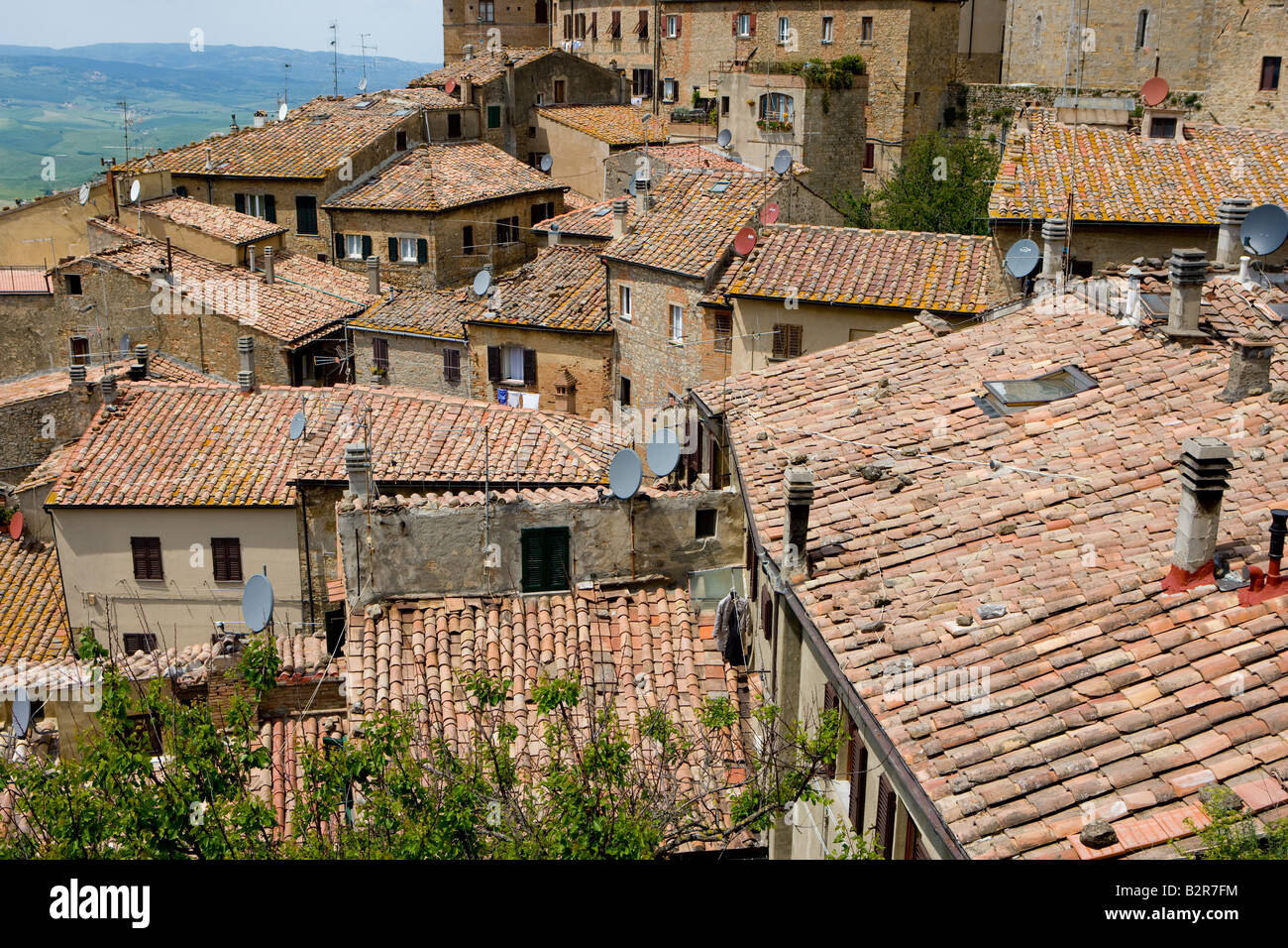 Roofs of Volterra - Stock Image