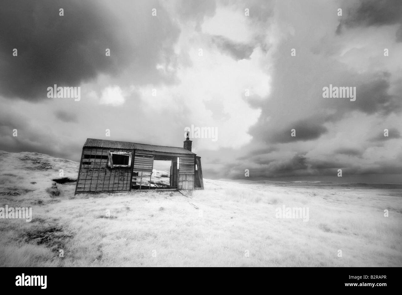 Infrared image of a shieling, Isle of Lewis, Hebrides, Scotland, UK - Stock Image