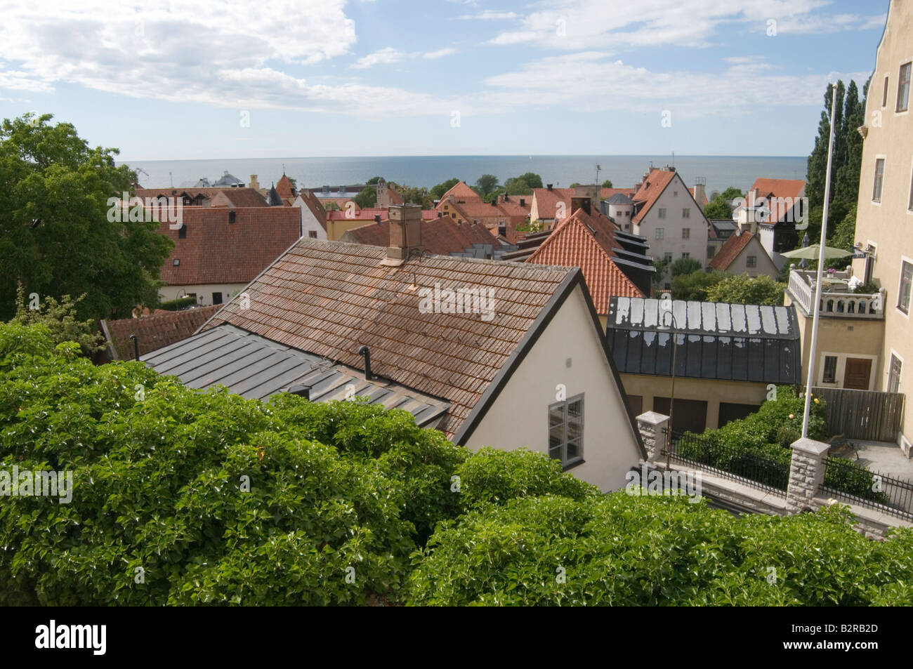 traditional swedish houses on gotland island - Stock Image