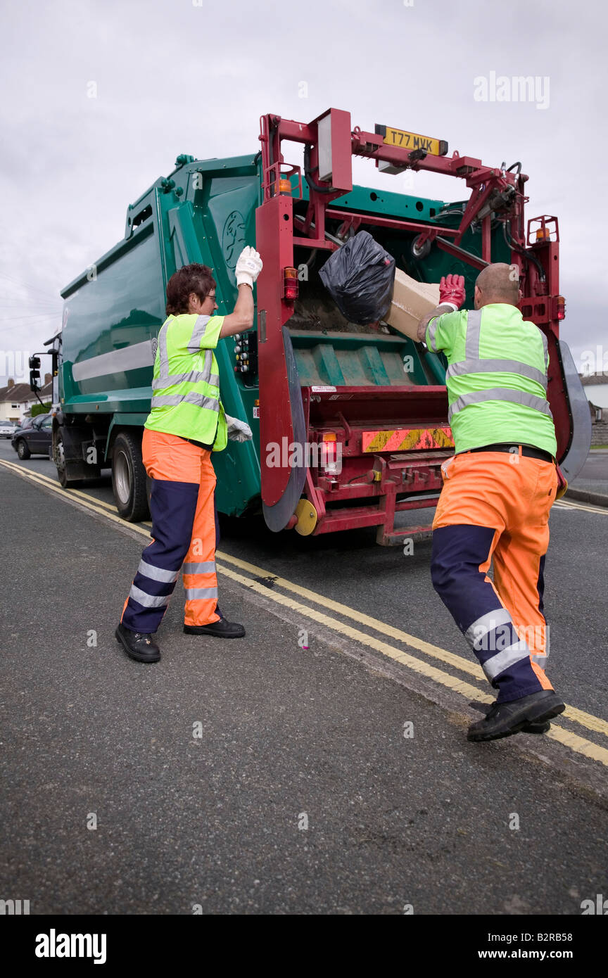 Refuse collection in a street in UK - Stock Image