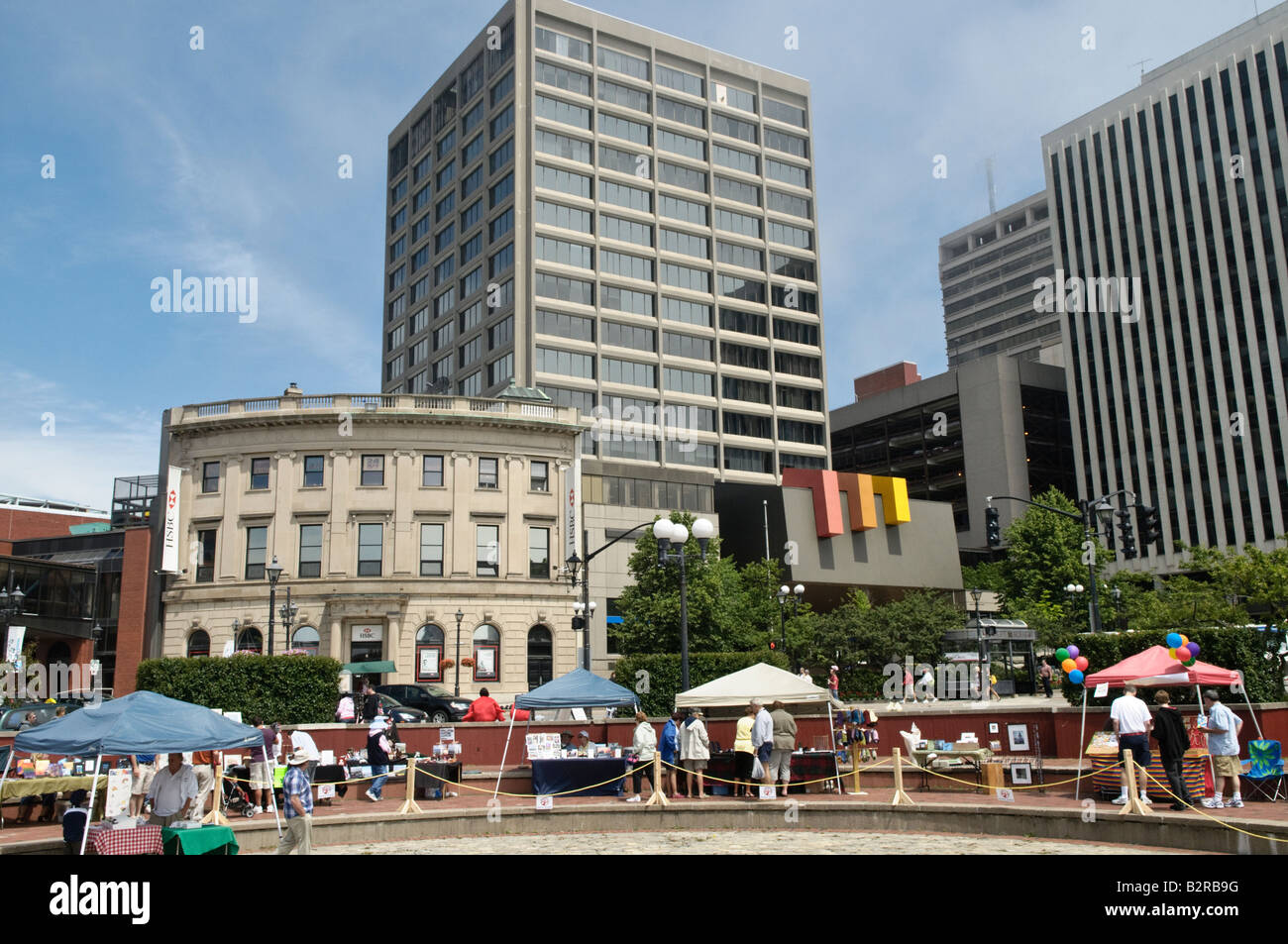 Downtown Saint John with City Hall on a sunny summer day - Stock Image