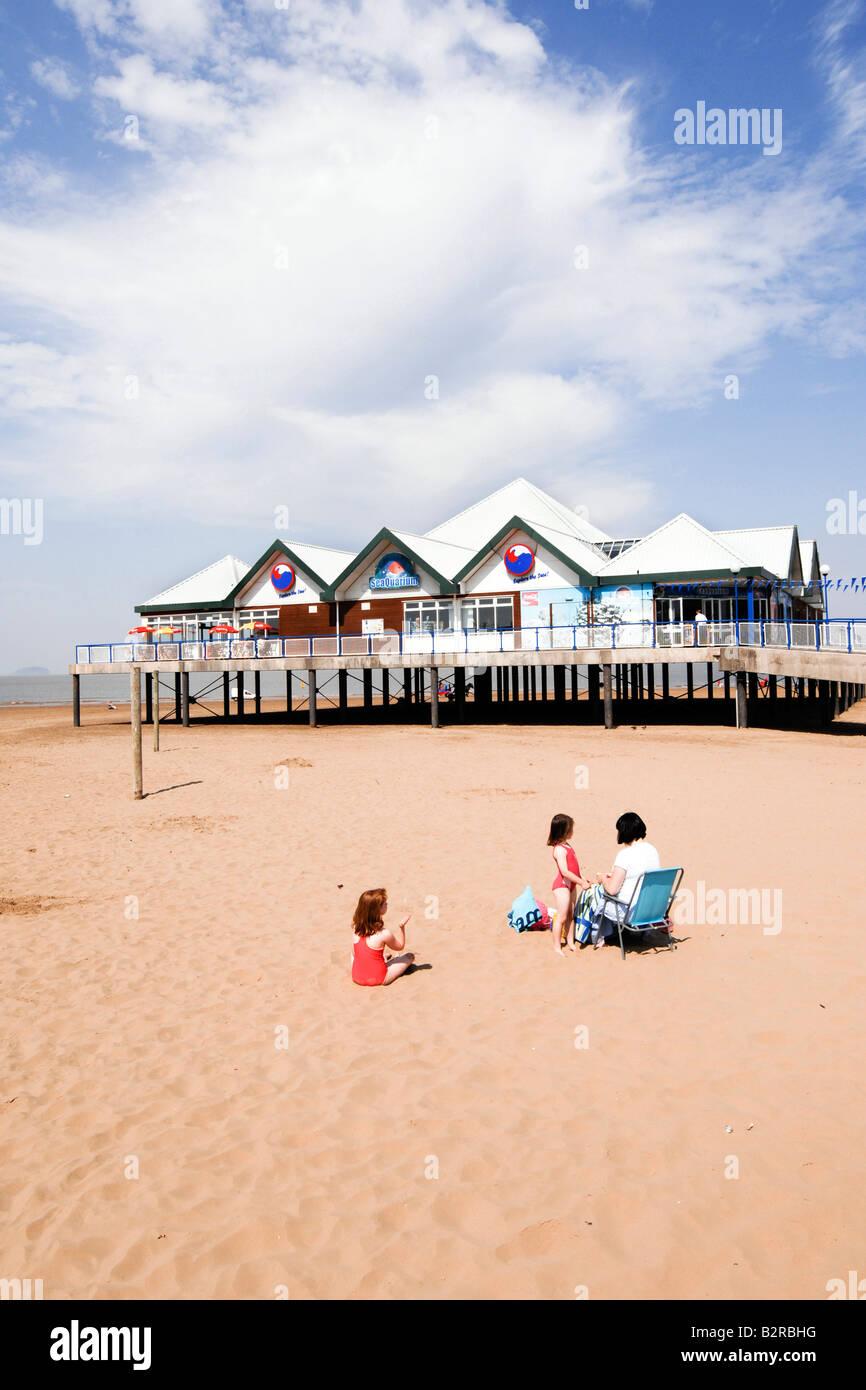 The SeaLife Aquarium on the beach at Weston Super Mare - Stock Image