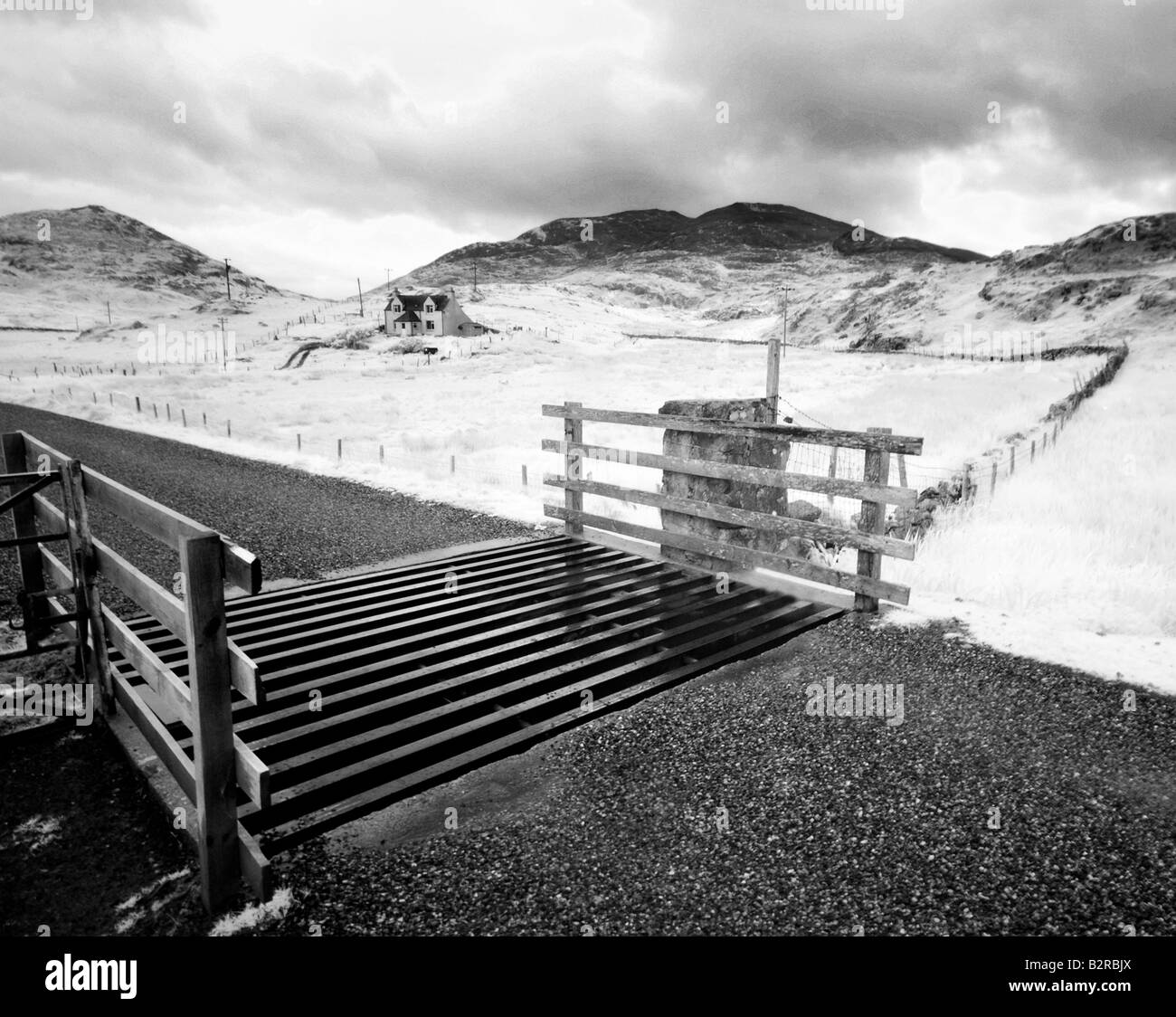 Infrared image of a cattle grid on the Isle of Harris, Hebrides, Scotland, UK - Stock Image