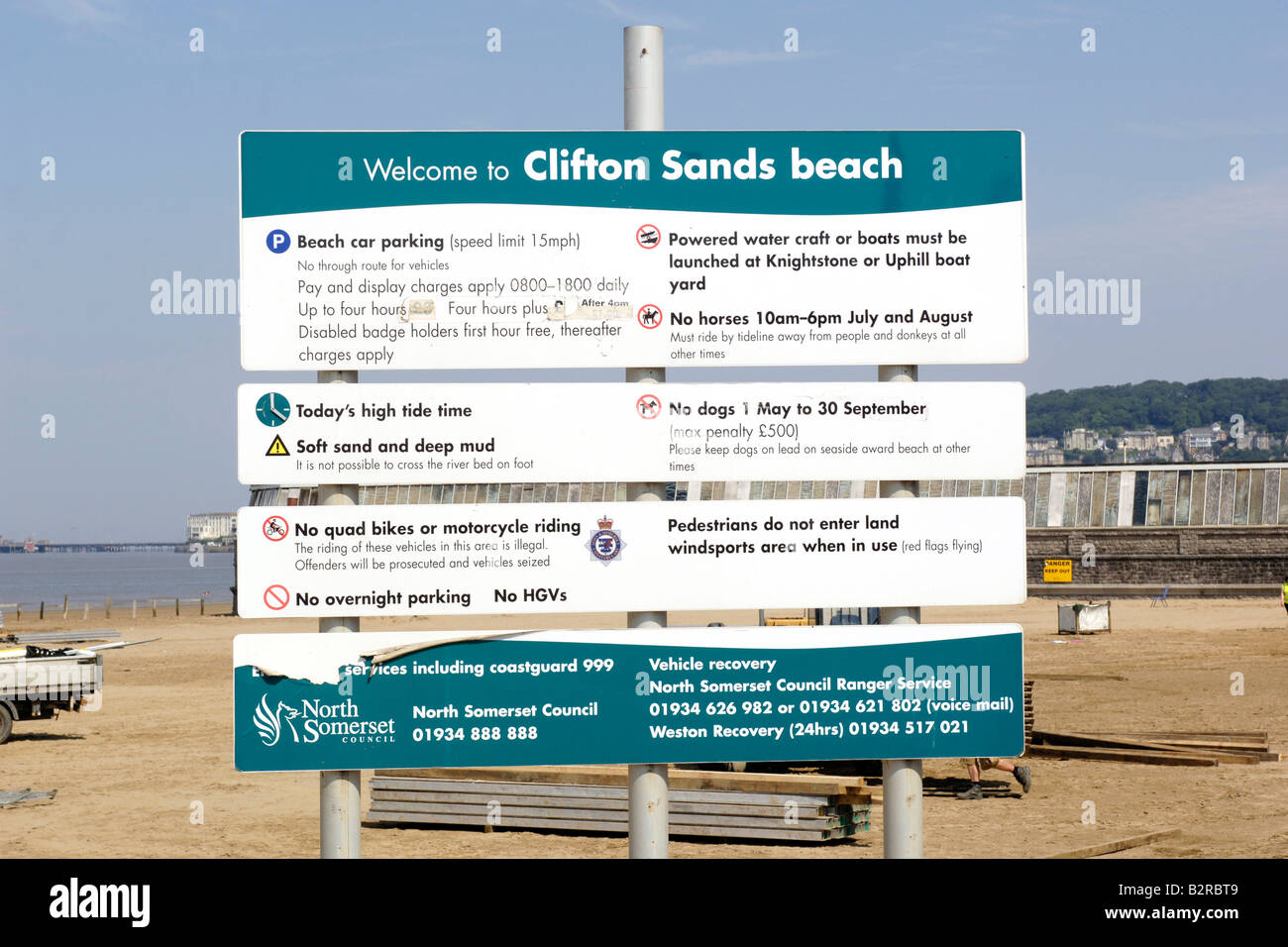 Giant sign outlining the rules at Clifton Sands Beach Somerset England - Stock Image