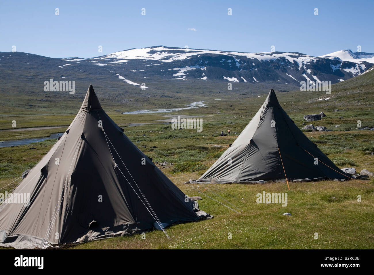 Norway Glittertind Laplander s tents huts in fjell valley summer 2008 - Stock Image