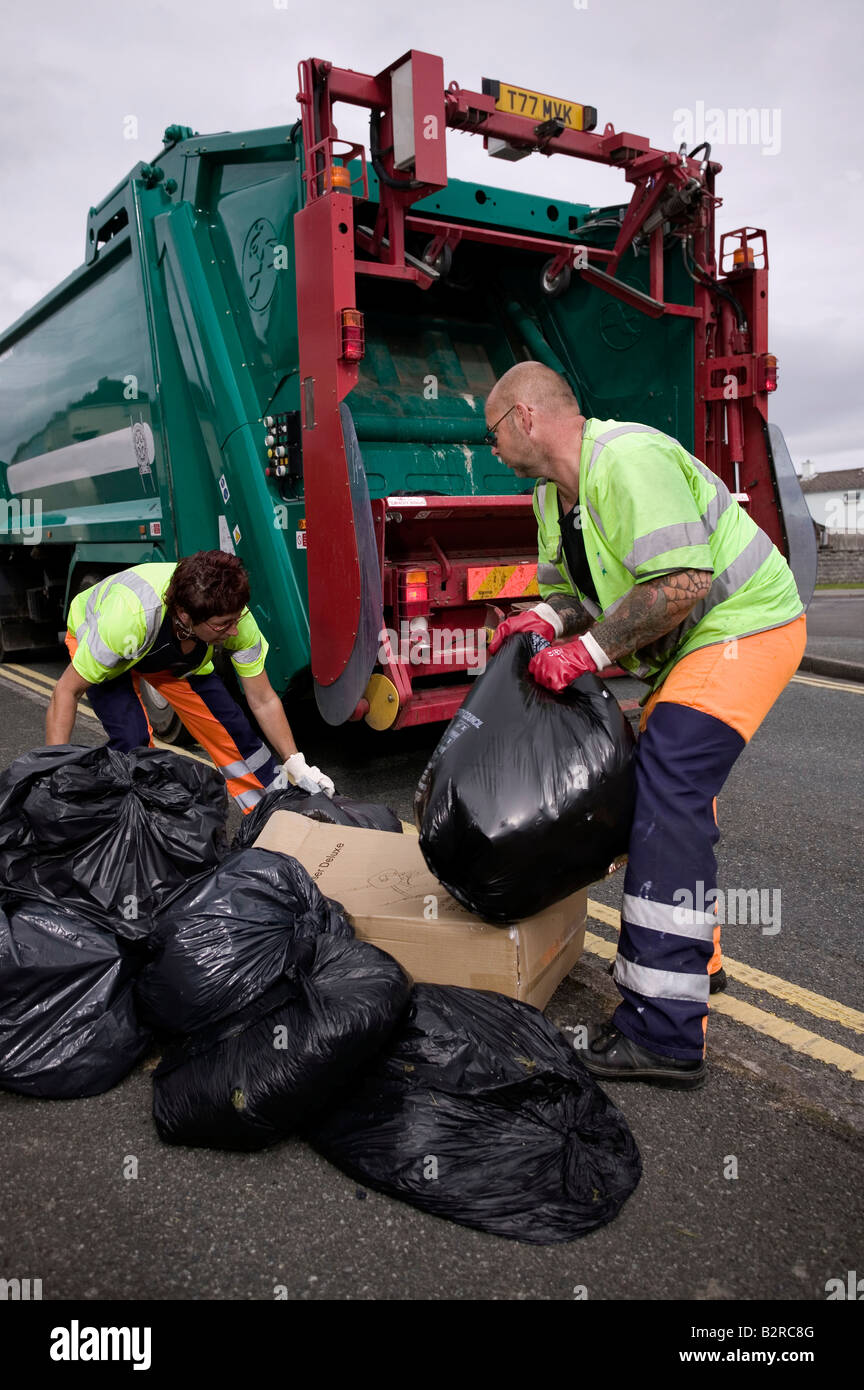Refuse collection in street in the UK - Stock Image