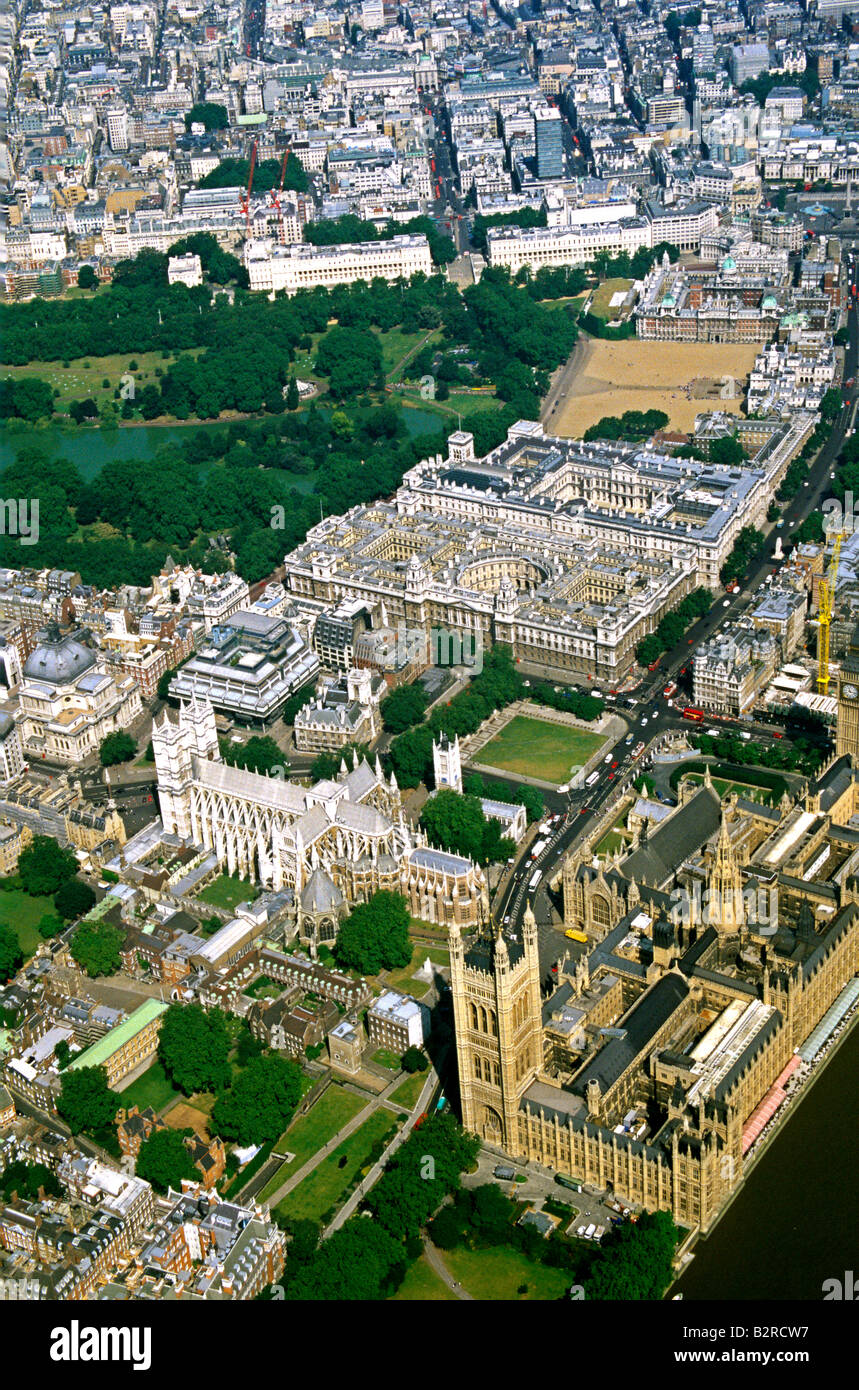 aerial view of Westminster Abbey, London Stock Photo