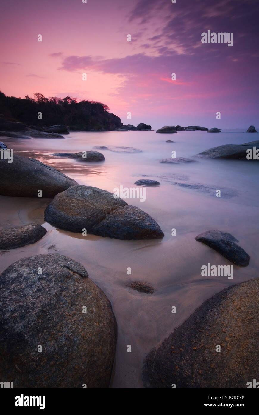 Sunset at Agonda Beach, South Goa, India, Subcontinent, Asia - Stock Image