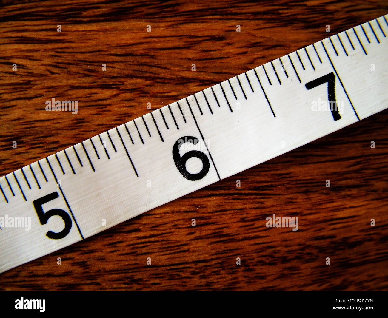 Tape measure 5 6 7 inches - Stock Image
