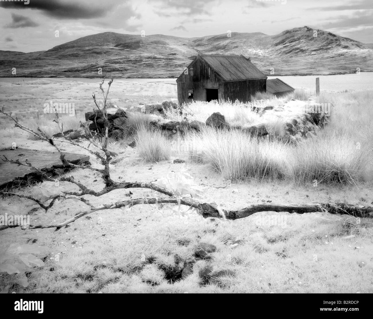 Infrared image of a derelict hut near Arivruach, Isle of Lewis, Hebrides, Scotland, UK Stock Photo